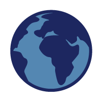 Foreign Accent Modification Course icon: Earth, showing Africa and most of Eurasia, drawn in dark and light blue.