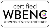 Certified WBENC Women's Business Enterprise logo: Turquoise words with two yellow humanoid figures in the large C